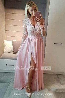 Royal Blue V Neck Long Sleeve Prom Floor Length Split Evening Dress with Lace_4