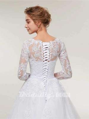 Stunning White Floral Lace Appliques Long Sleeves Aline Wedding Gown_6