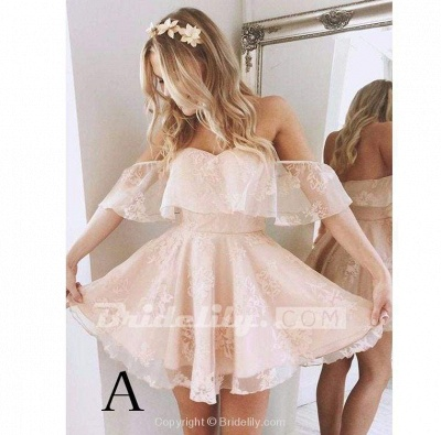 A-Line Lace Off-Shoulder Short Prom Dresses Pearl Pink Homecoming Dress_2