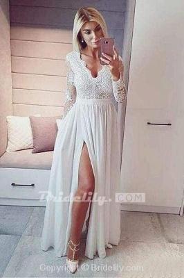 Royal Blue V Neck Long Sleeve Prom Floor Length Split Evening Dress with Lace_3