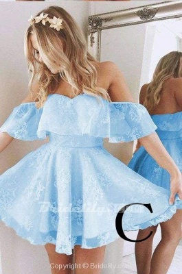 A-Line Lace Off-Shoulder Short Prom Dresses Pearl Pink Homecoming Dress_4