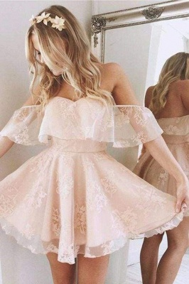 A-Line Lace Off-Shoulder Short Prom Dresses Pearl Pink Homecoming Dress_1