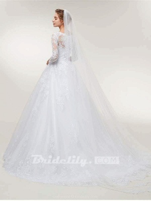 Stunning White Floral Lace Appliques Long Sleeves Aline Wedding Gown_4
