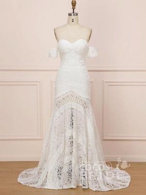 Elegant Sweetheart Lace Mermaid Boho Wedding Dresses Off Shoulder Simple Dress for Bide_2