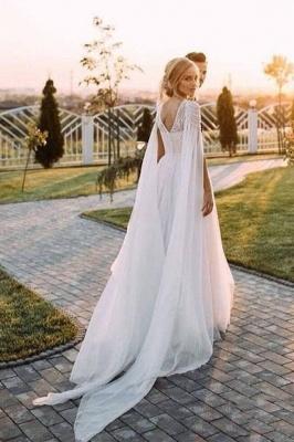 A Line  Chiffon Cap Sleeves Boho Beach Wedding Dress Beaded Simple Dress for Bride_1