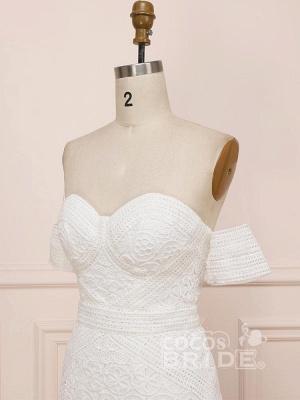 Elegant Sweetheart Lace Mermaid Boho Wedding Dresses Off Shoulder Simple Dress for Bide_5