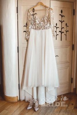 Charmante robe de mariée en tulle à manches longues et perles_3