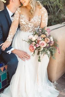 Charmante robe de mariée en tulle à manches longues et perles_5
