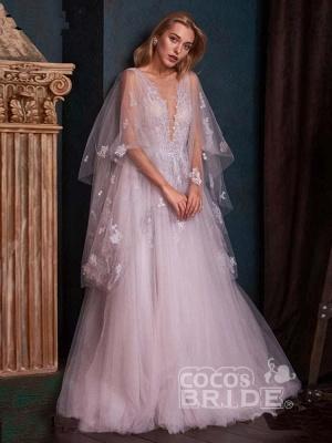 Romantisches Aline Brautkleid mit tiefem V-Ausschnitt und Sweep Wrap_5