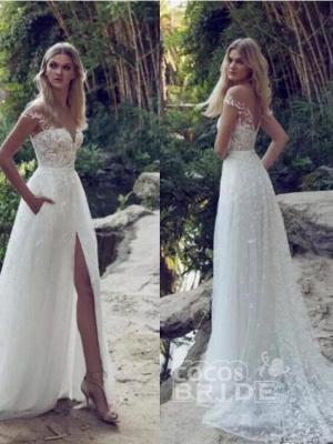 Stunning Off Shoulder Floral Lace Simple Wedding Dress Side Slit with Pocket_2