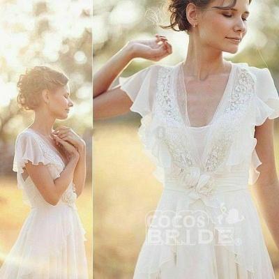 V Neck Chiffon Boho Unique Cap Sleeves Beach Wedding Dress_4