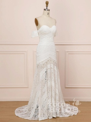 Elegant Sweetheart Lace Mermaid Boho Wedding Dresses Off Shoulder Simple Dress for Bide_3