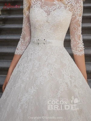 Stylish 3/4 Sleeves Lace Appliques Aline Bridal Gown Scoop Neck Wedding Dress_3