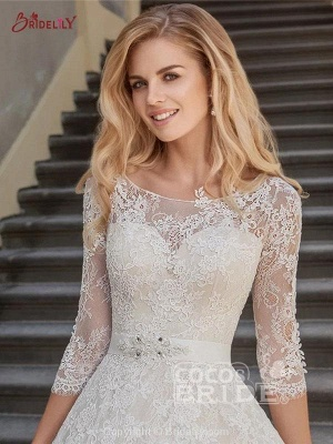 Stylish 3/4 Sleeves Lace Appliques Aline Bridal Gown Scoop Neck Wedding Dress_4