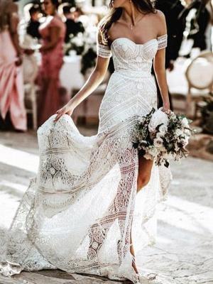 Elegant Sweetheart Lace Mermaid Boho Wedding Dresses Off Shoulder Simple Dress for Bide_1