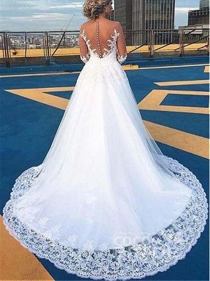 Stylish V-Neck Lace Appliques Aline Wedding Gown Long Sleeves Bridal Dress_2