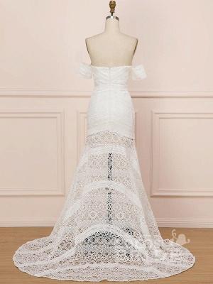 Elegant Sweetheart Lace Mermaid Boho Wedding Dresses Off Shoulder Simple Dress for Bide_4