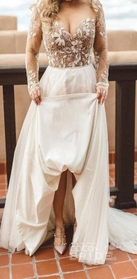 Charming Beading Long Sleeves Unique Tulle Wedding Dress_7