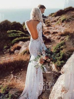 Langarm-Blumenspitze rückenfreie Meerjungfrau Brautkleider_2