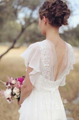 V Neck Chiffon Boho Unique Cap Sleeves Beach Wedding Dress_2