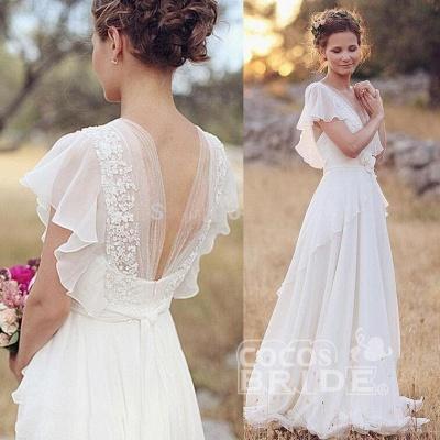 V Neck Chiffon Boho Unique Cap Sleeves Beach Wedding Dress_3