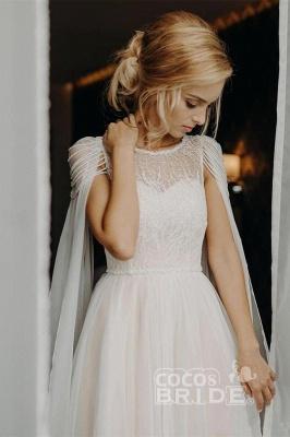 A Line  Chiffon Cap Sleeves Boho Beach Wedding Dress Beaded Simple Dress for Bride_2