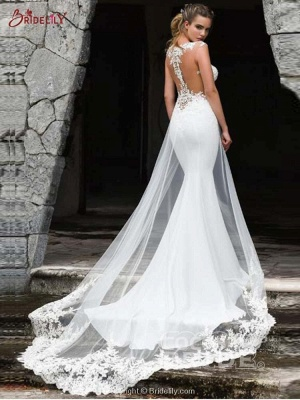 Charming Sleeveless lace Mermaid Bridal Gown with Sweep Train_2