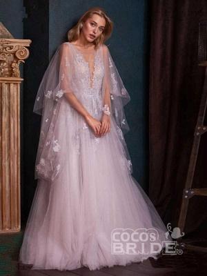 Romantisches Aline Brautkleid mit tiefem V-Ausschnitt und Sweep Wrap_2