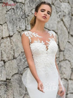 Charming Sleeveless lace Mermaid Bridal Gown with Sweep Train_3