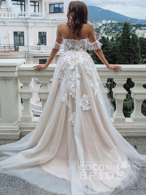 Off The Shoulder  A-line Tulle  Appliques Wedding Dresses Bridal Gowns_2