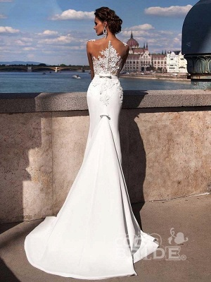 Sexy ärmelloses Meerjungfrau-Brautkleid mit Sweep-Zug_3