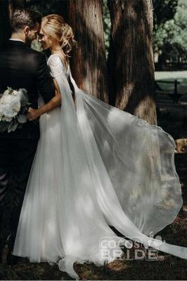 A Line  Chiffon Cap Sleeves Boho Beach Wedding Dress Beaded Simple Dress for Bride_5