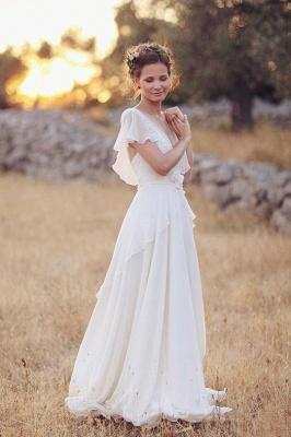 V Neck Chiffon Boho Unique Cap Sleeves Beach Wedding Dress_1