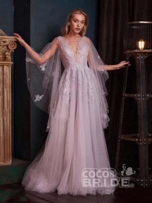 Romantisches Aline Brautkleid mit tiefem V-Ausschnitt und Sweep Wrap_3