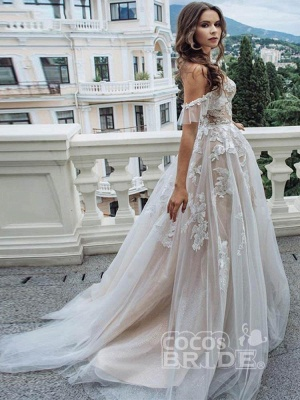Off The Shoulder  A-line Tulle  Appliques Wedding Dresses Bridal Gowns_3