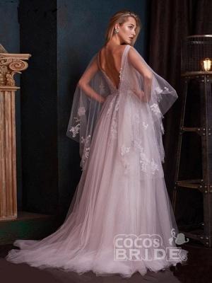 Romantisches Aline Brautkleid mit tiefem V-Ausschnitt und Sweep Wrap_4