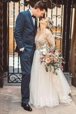 Charmante robe de mariée en tulle à manches longues et perles_6