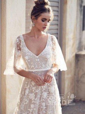 V Neck Half Sleeve Lace Boho Wedding Dresses_3