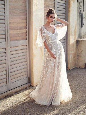 V Neck Half Sleeve Lace Boho Wedding Dresses_1