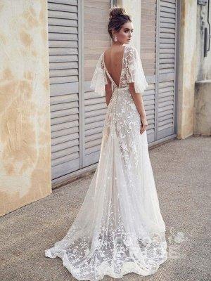 V Neck Half Sleeve Lace Boho Wedding Dresses_2