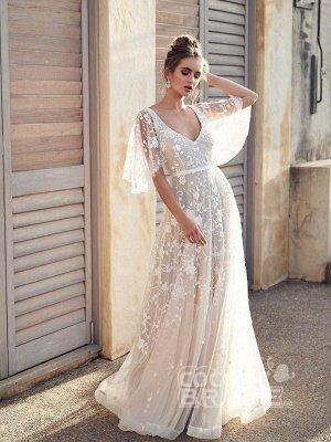 V Neck Half Sleeve Lace Boho Wedding Dresses_5