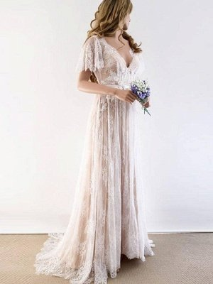 Lace Half Sleeves Boho Wedding Dress Chic Beach Bridal Gowns
