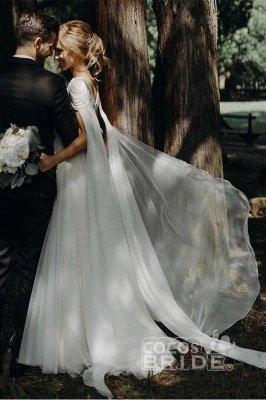 Une ligne en mousseline de soie Cap manches Boho Beach Robe de mariée perlée Robe simple pour la mariée_5