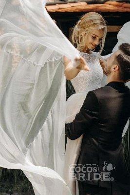 Une ligne en mousseline de soie Cap manches Boho Beach Robe de mariée perlée Robe simple pour la mariée_3