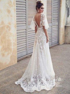 V Neck Half Sleeve Lace Boho Wedding Dresses_6