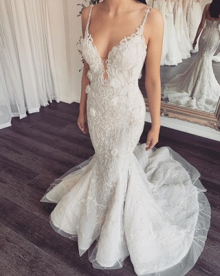 Spaghetti Straps V-neck Beading Wedding Dresses | Backless Appliques Bridal Gowns With Detachable Train_2