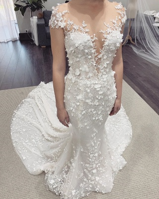 Floral Sheer Tulle Appliques Mermaid Wedding Dresses | Sleeveless Bridal Gowns With Detachable Train_2