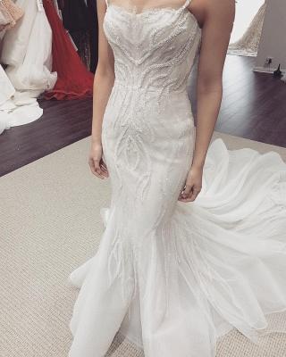 Spaghetti Straps Sequins Mermaid Wedding Dresses   Cheap Bridal Gowns With Detachable Train_2