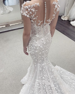 Floral Sheer Tulle Appliques Mermaid Wedding Dresses | Sleeveless Bridal Gowns With Detachable Train_3