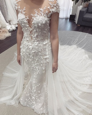 Floral Sheer Tulle Appliques Mermaid Wedding Dresses | Sleeveless Bridal Gowns With Detachable Train_4